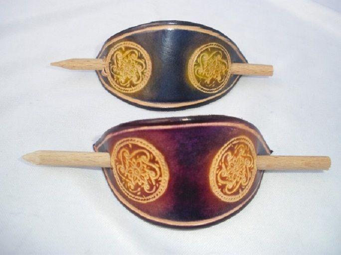 barette cuir ovale