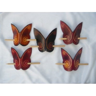 barette cuir forme papillon
