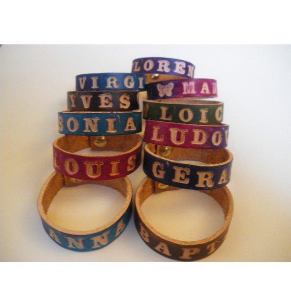 bracelet prénom cuir gravé