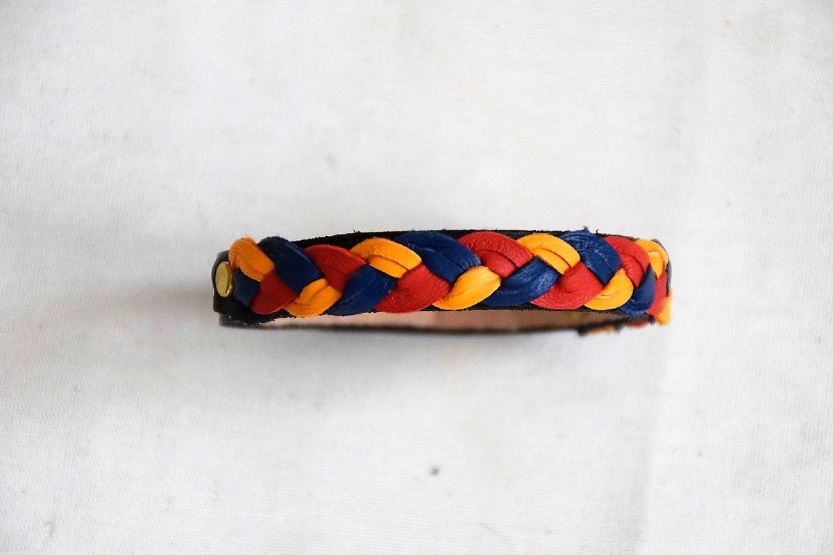 bracelet cuir tressé 2 couleurs