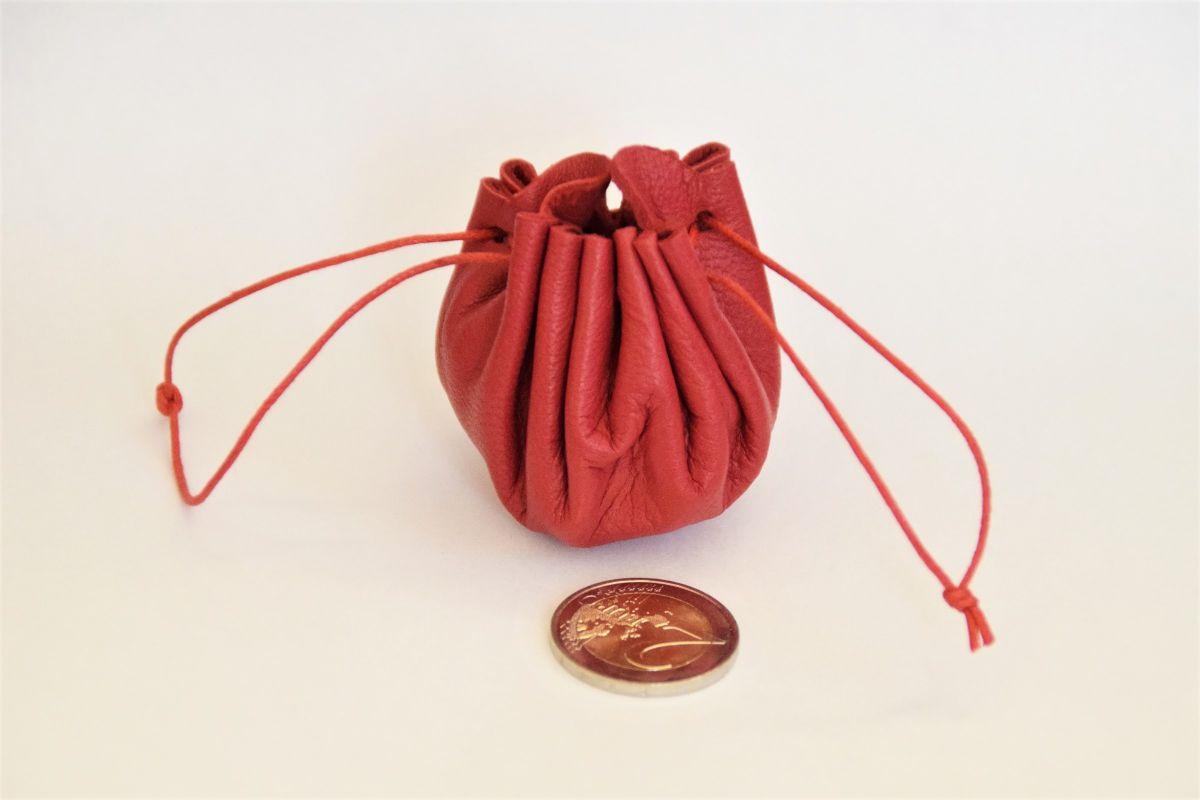 mini bourse de poche en cuir souple