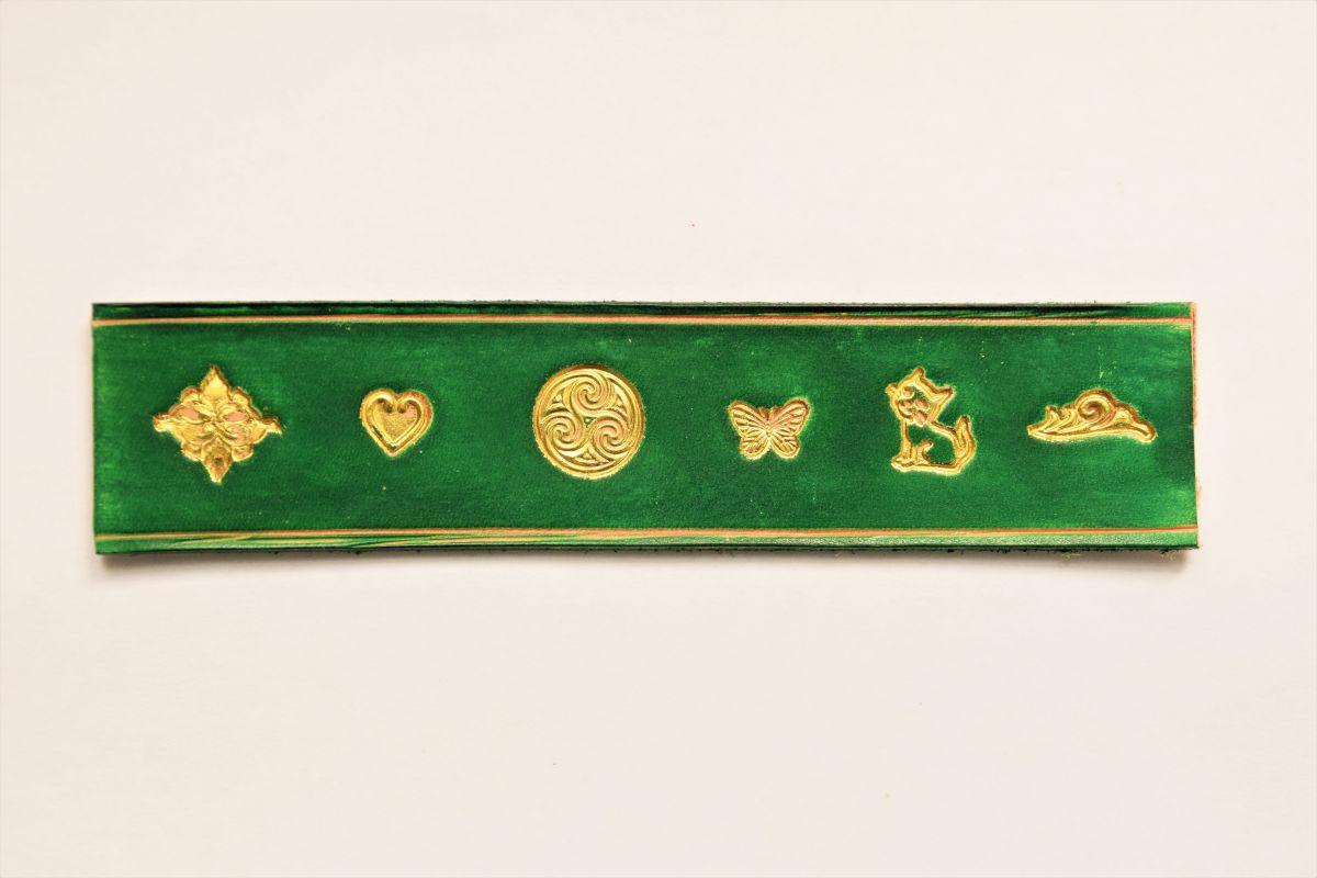 Rond de serviette en cuir personnalisé gravé or